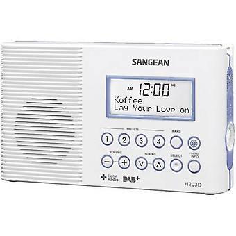 Sangean H-203D DAB + Badezimmer-Radio DAB + FM Taschenlampe wasserdicht weiß