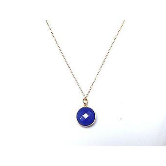 Gemshine - Damen - Halskette - 925 Silber - Vergoldet - Onyx - Blau - CANDY