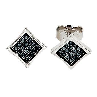 Ohrstecker eckig 925 Sterling Silber rhodiniert mit schwarzen Zirkonia Ohrringe silber