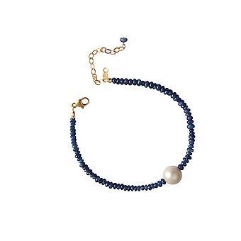 Safirarmband mit Perle Saphir Zuchtperlen Armband vergoldet