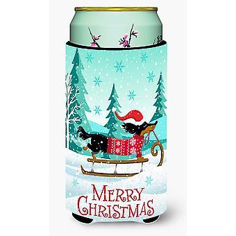 Feliz Navidad Dachshund muchacho alto bebidas aislador Hugger