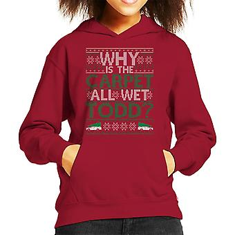 National Lampoons Why Is The Carpet Wet Christmas Knit Pattern Kid's Hooded Sweatshirt