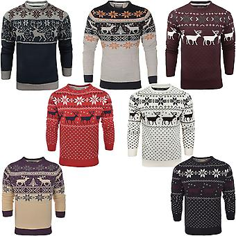 James Darby Mens Nordic Stag Winter Knit Christmas Xmas Pullover Sweater Jumper