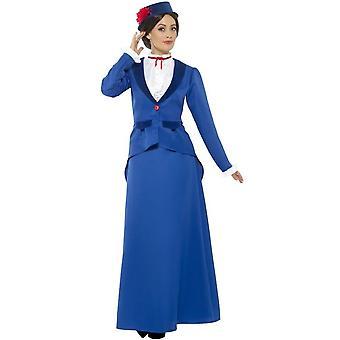 Victoriaanse Nanny kostuum, blauw, met vest met Mock Shirt, rok & hoed