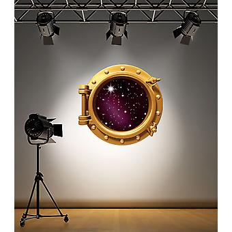 Full Colour Brass Porthole Stars Wall Sticker