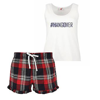 #Hangover Ladies Tartan Frill Short Pyjama Set Red Blue or Green Blue