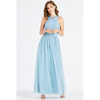 Little Mistress Lais Blue Maxi Dress With Tie Back