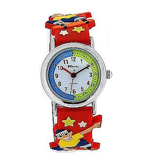 Ravel Time Teacher 3D Skateboarder Design Red Rubber Watch + Telling Time Award