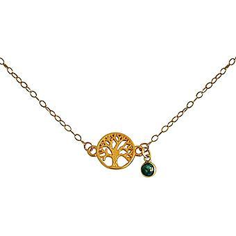 Gemshine YOGA Halskette Lebensbaum, grüner Smaragd. 925 Silber, hochwertig vergoldet oder rose Charm Anhänger. Nachhaltiger, qualitätsvoller Schmuck Made in Spain