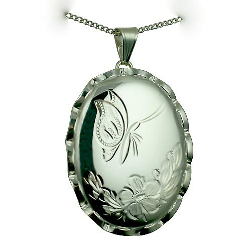 Silver 37x28mm hand engraved butterfly twisted wire edge oval Locket with a curb chain