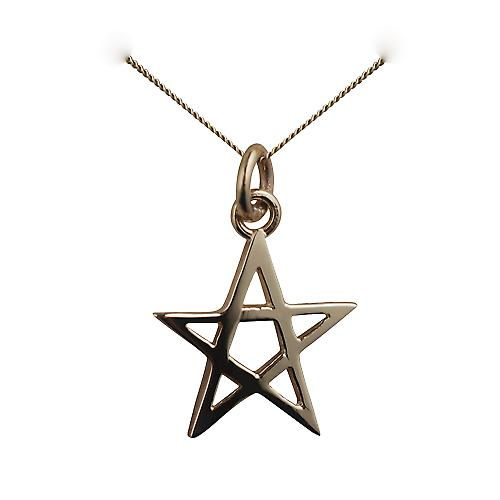 9ct Gold 19x19mm plain Pentangle Pendant with a curb Chain 16 inches Only Suitable for Children