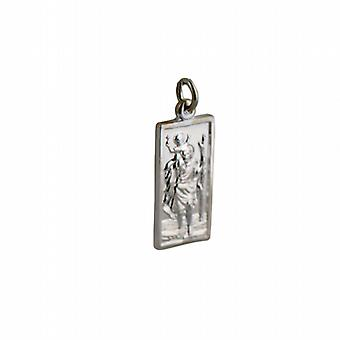 Silver 26x13mm rectangular St Christopher Pendant