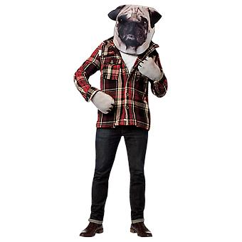 Adult Dog Head & Paws Kit Animal Pet Pug Novelty Funny Fancy Dress Costume