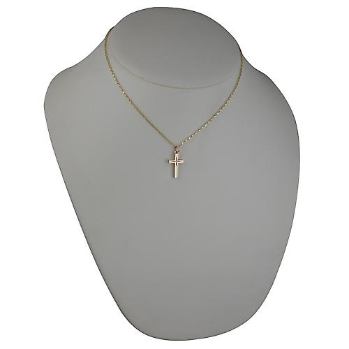 9ct Gold 20x13mm diamond cut star solid block Cross with belcher Chain 16 inches Only Suitable for Children
