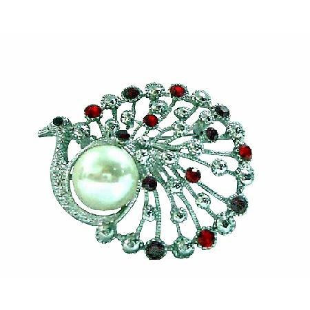 Siam Red Crystals Peacock Round with Pearls Brooch