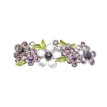 Amethyst Barrette Flowers Painted In Purple Crystals Wedding Hair Clip