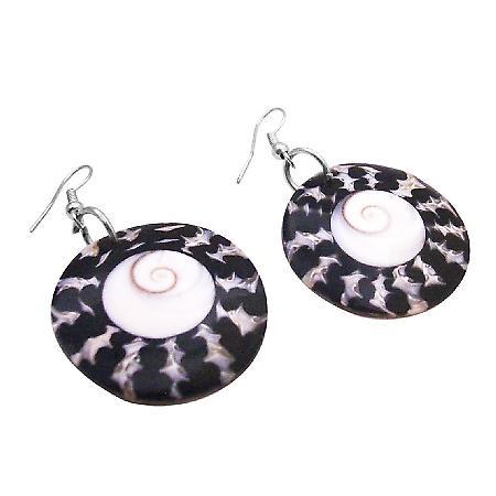 Shopping Circle Shell Earrings w/ Shiva Eye At Center Gift Earrings