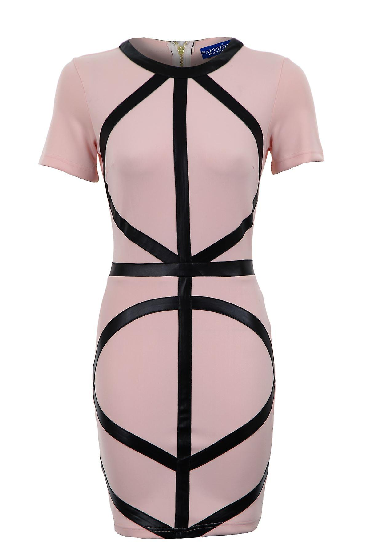 Ladies PVC Diagonal Straps Short Bodycon Black White Peach Women's Dress