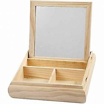 Wood Jewellery Box & Mirrored Lid to Decorate | Wooden Shapes for Crafts