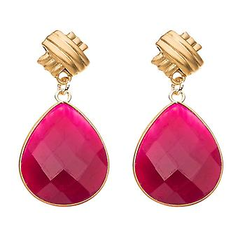 Gemshine earrings red ruby gemstone drops in 925 silver or gold plated