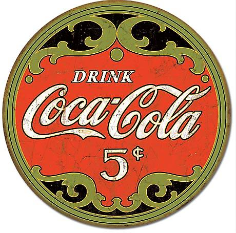 Coca Cola 5 Cents round metal sign (de)