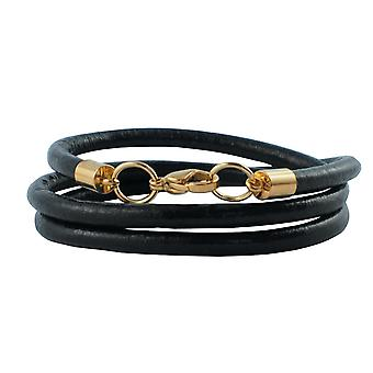 Leather necklace 6 mm mens necklace black 17-100 cm long with lobster clasp gold round