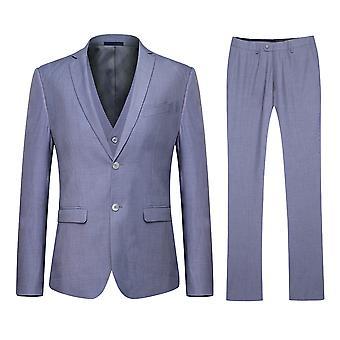 Allthemen Men's Grey Classic Slim Business Casual 3-Piece Suit