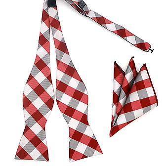 Red & grey check self bow tie & matching pocket square