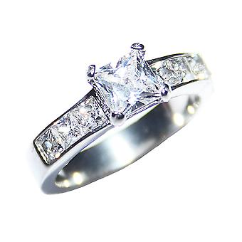 Ah! Jewellery Stainless Steel Simulated Diamonds Princess Cut Ring