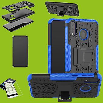 Para Samsung Galaxy A40 A405F 5.9 pulgadas híbrido caso 2 pieza vidrio templado + azul bolsa funda manga