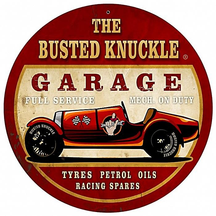 Busted Knuckle Garage Race Car round metal sign (pst 14 rnd)