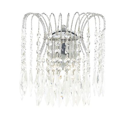 Searchlight 4172-2 Waterfall Shower Crystal Wall Light Cut Chrome Frame