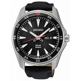 Seiko Mens Solar Black Canvas Strap SNE393P2 Watch