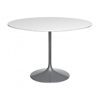 Gillmore Space Pedestal Large Dining Table White Gloss And Smoked Chrome