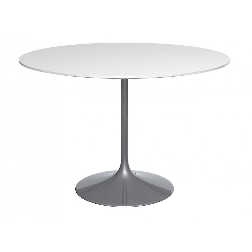 Gillmore Space Pedestal Large Dining Table blanc Gloss And Smoked Chrome