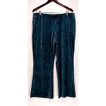 AnyBody Women's Lounge Pants, Sleep Shorts Velour Flare Blue A297303