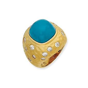 Gold-Flashed 925 Sterling Silver Satin Simulated Turquoise and Cubic Zirconia Ring - Ring Size: 7 to 8