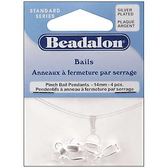 Pendant Pinch Bail 14Mm 4 Pkg Silver 327B 062