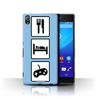 STUFF4 Case/Cover for Sony Xperia Z3+/Plus/Game/Gaming/Blue/Eat/Sleep