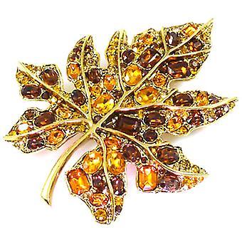 Kenneth Jay Lane store Topaz krystall og Gold Maple Leaf brosje Pin