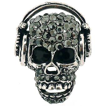 Black Diamond Crystal Skull med hodetelefoner Ring