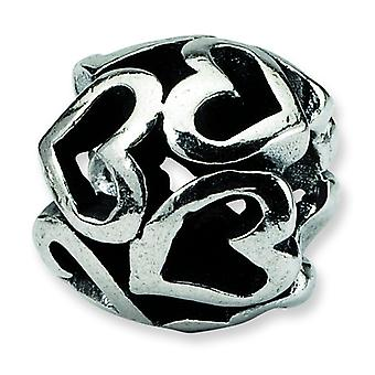 Sterling Silver Antique finish Reflections Heart Bead Charm
