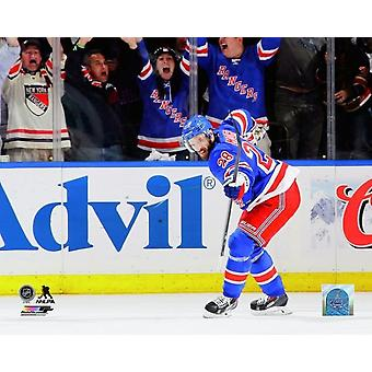 Dominic Moore of the New York Rangers celebrates scoring a goal in the second period of Game Six of the Eastern Conference Final against the Montreal Canadiens during the 2014 NHL Stanley Cup Playoffs