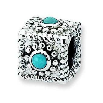Sterling Silver Antique finish Reflections Square Simulated Turquoise Bead Charm