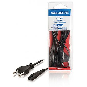 ValueLine power cable with Euro plug, male-IEC-320-C7 2.00 m, black