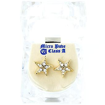 Iced out bling earrings box - STAR gold