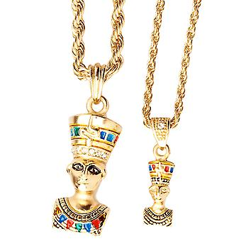 Iced out bling mini chain pendant set - 2 x EGYPT QUEEN