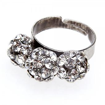 Camille Womens Ladies Fashion Jewellery Clear Adjustable Vintage Diamante Elegant Three Ball Ring