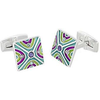 Duncan Walton Oxlow Luxury Rhodium Plated Cufflinks - Purple/Teal