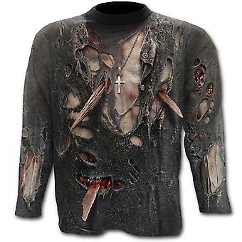 Spiral - ZOMBIE WRAP - Allover Printed Long Sleeve T-Shirt Top, Black